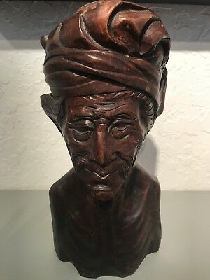 Antique Asian Wood Carving Bust Indonesian Figure Sculpture