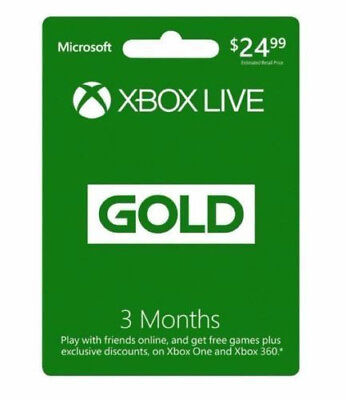 Microsoft Xbox Live Gold 3 Month Subscription Card for Xbox One & Xbox 360