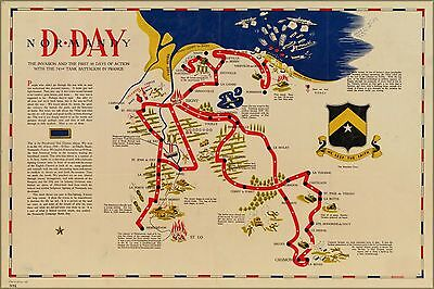 Poster, Many Sizes; Map Of D-Day Normandy France 743Rd Tank Battalion