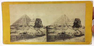 VERY Early BURIED SPHINX Frith Stereoview ANCIENT EGYPT Pyramid STEREOVIEW PHOTO