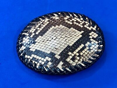 Snakeskin Leather  Western Handcrafted by SS Snake Stitched Belt Buckle