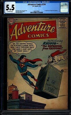 Adventure Comics 210 CGC 5.5 OW Silver Golden Age Key Comic 1st Krypto IGKC L@@K