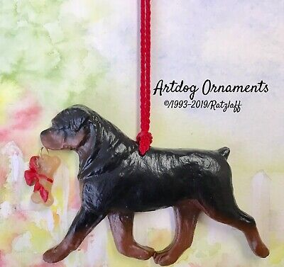 Rottweiler with bone charm-Christmas/holiday dog breed ornament