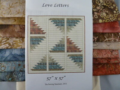 """Quilting Kit 'love Letters' 57"""" X 57"""" Fabric Pattern & Instructions"""