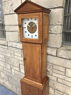 Mid Century 1960s Hand Made Folk Art Grandfather Clock Cabinet