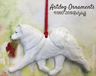 Samoyed-w/bone charm-Christmas/holiday dog breed ornament