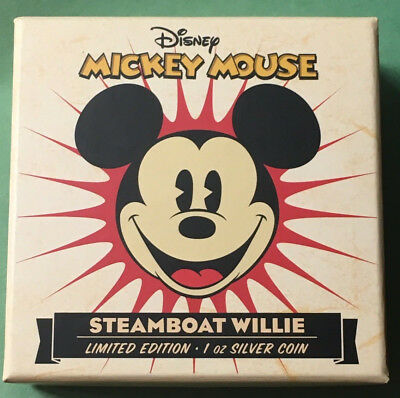 New Zealand Mint Disney Mickey Mouse Steamboat Willie 1 Oz Silver Coin