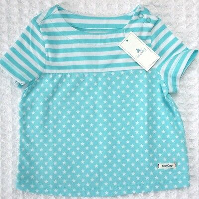 NEW Baby GAP Girls 3-6 mos Blue White Stars Striped Cotton T-Shirt