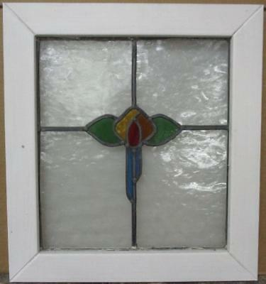 "MID SIZED OLD ENGLISH LEADED STAINED GLASS WINDOW Colorful Floral 20.5"" x 22.25"""