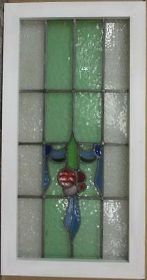 "LARGE OLD ENGLISH LEADED STAINED GLASS WINDOW Gorgeous Swag & Drop 16.25"" x 31"""