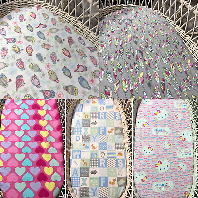 Bassinet baby Moses fitted sheets flannelette cotton bedding feathers blue