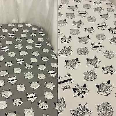 Grey or white fox woodlands bassinet, moses, Boori, Stokke mini fitted sheet