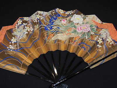 2 Hand Painted 1930's  - 1940's Vintage Japanese Paper  Fans w Case