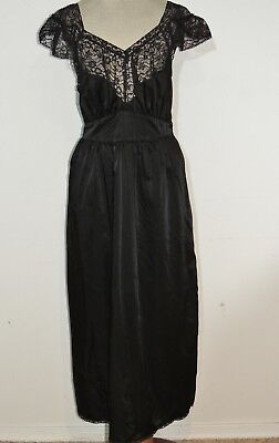 1950's Black Satin Nightgown w Lace  MED