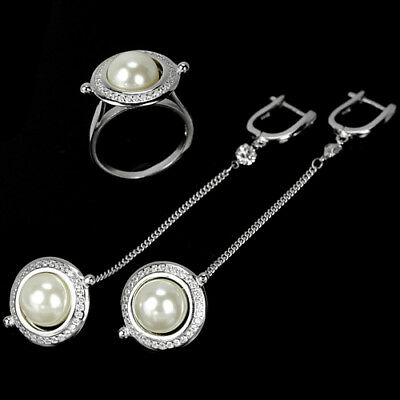 Natural Aaa White Pearl Round Cabochon & Cz Sterling 925 Silver Set Size 7