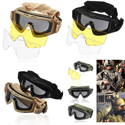 3 Lenses Tactical Airsoft Goggles Eye Mask 100% UV Protection SWAT  new
