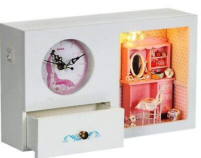 AU DIY PINK Doll House Miniature Clock, Music box, LED Lights