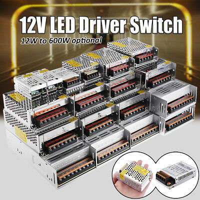 LED Driver Power Supply Adapter AC 100-240V to DC 12V 12W-600W For LED
