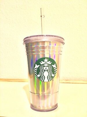 Starbucks Grande Iridescent Double Walled Acrylic Cold Cup Tumbler with Straw