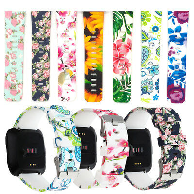 Floral Flower Print Strap Wrist Band + Classic Buckle For Fitbit Versa  Fitness