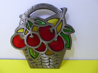 Vintage Cast Iron Fruit Basket Trivet with Red Green Yellow Colored Glass