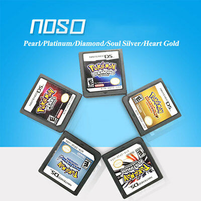 5PCS Pokemon HeartGold SoulSilver Platinum Pearl Diamond Game Card 3DS NDSI NDS
