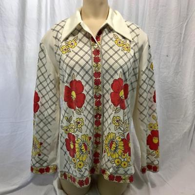 Vintage Campagna' N Mare Donna Poliestere Stampa Floreale Camicia Blusa Size 38