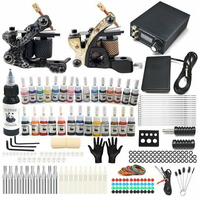 Complete Tattoo Kit 2 Professional Machine Gun 28 Inks Power Supply Needles UK