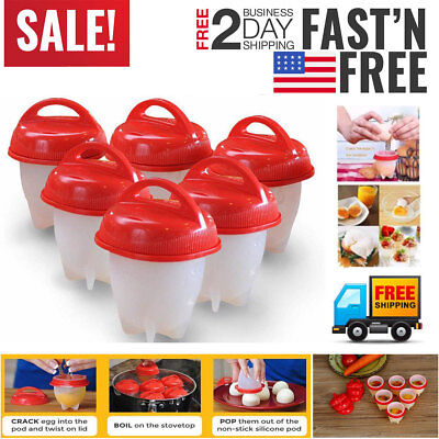 6 Pack Egg Cooker Kitchen Hard Boiled Eggs without the Shell 6 Egg Cups Tool USA