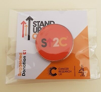 """Brand New & Sealed """"STAND UP TO CANCER CHARITY"""" Round Pin Badge (Same Day Post!)"""