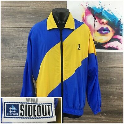 517efa215209 Vintage Sideout Men s S L Blue Yellow Color Block Zip Lightweight 90s Jacket