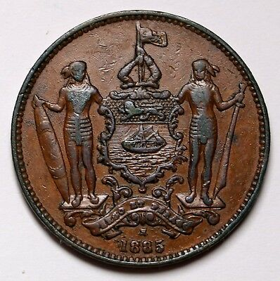 1885 H British North Borneo Cent Coin KM# 2 Nice