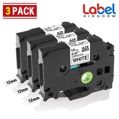 3 Pk Compatible Label Maker Tape 12mm for Brother P-Touch TZ-231 TZe-231 PT-D210