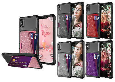 For iPhone X XR XS BlingBling Case Leather Wallet Case with Card Holder Slot NEW