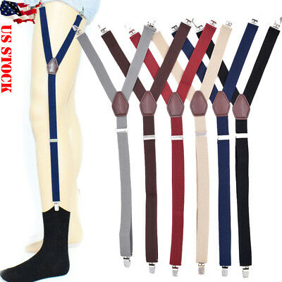 1 Pair Men's Shirt Stays Holders Elastic Garter Belt Suspender Locking Clamp USA
