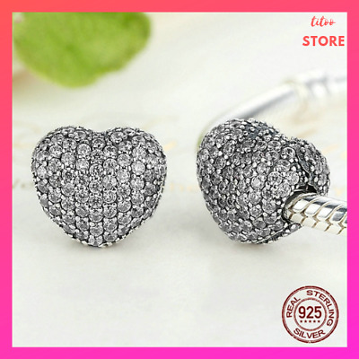 AUTHENTIC 925 Sterling Silver Charm Bead Sparkling Heart luxury