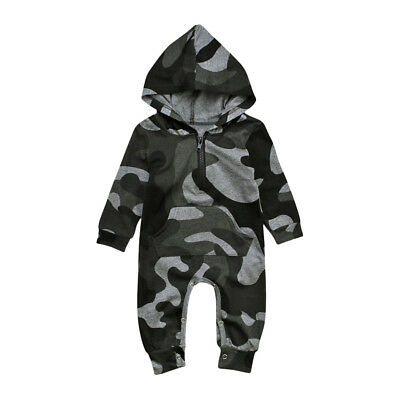 Infant Baby Camouflage Hooded Boys Girl's Fashion Romper Jumpsuit Warm Cotton