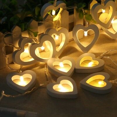 10 LED Lights Wooden Love Heart Fairy Battery Operated String Lamp Home Decor US