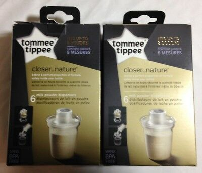 LOT of 2 Tommee Tippee Baby Bottle Formula Dispensers - 6 Packs (12 total)