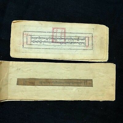 Antique Mongolian Buddhist Woodblock 2 Complete Manuscript With Seal