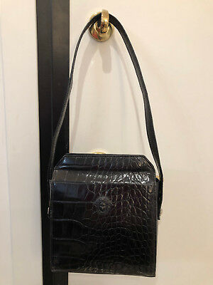 GIANNI VERSACE COUTURE vintage black leather bag w gold medusa ... 78019b163a