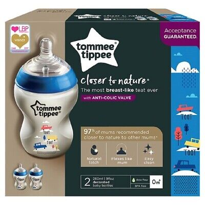 New 6x Tommee Tippee  260ml 9oz Feeding Bottles  Night boys  / Girls BBA FREE