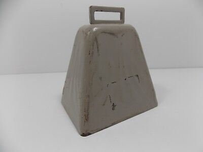 "LARGE METAL COW BELL w/ original CLAPPER  Painted ""LOUD"""