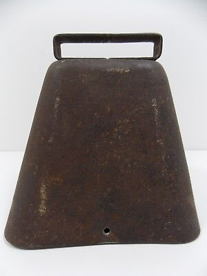 "VINTAGE LARGE METAL COW BELL w/ original CLAPPER   ""LOUD"""