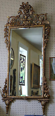 Superb 1880's Tall French Carved Gilded Mirror W Flowers LARGE Beautiful!