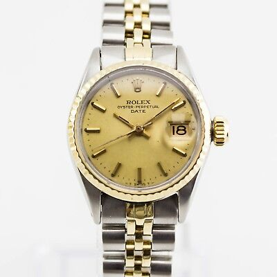 Ladies Rolex Stainless Steel & 18ct Gold Date 26mm Ref. 6517 Gilt Dial 1970