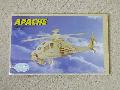 Model Kits Helicopter 3D Wooden Model Puzzle KIDS ADULTS Apache