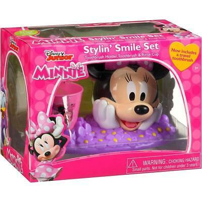 Minnie mouse Kids Toothbrush Holder and Rinse Cup Gift Set bathroom decor set