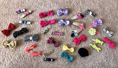Toddler Girls Hair Bows Clips LOT All Seasons EUC 32 Pieces