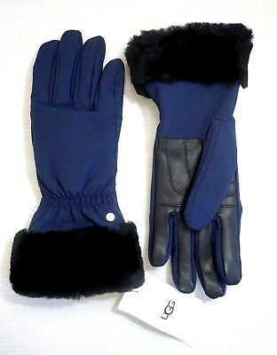 NWT UGG Women's Shearling Cuffed Leather & Polyester Tech Gloves, New Navy, L/XL